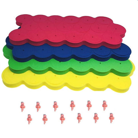 1.625'' Neoprene Replacement - 72pcs per bag (green, yellow, blue and red) + 12pcs sprayers