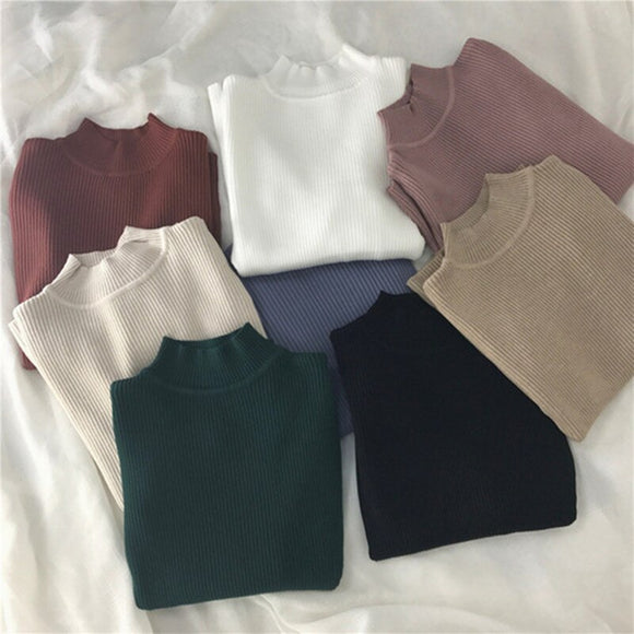 Red Beige Khaki Coffee Green Gray Black Brown Slim Turtleneck Sweater for Women Basic Pullovers Lady's Sweater Female Jumper