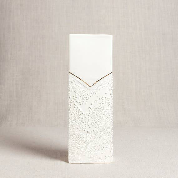 Honeycomb Studio - Rectangle Vase with Textured Glaze