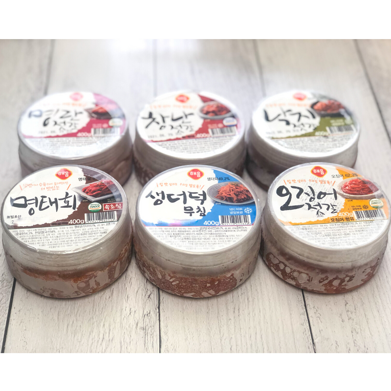 [SEPARATE FREE SHIPPING] Gangwondo Seasoned Salted Seafood (Jeotgal) Jumbo Set (6 Types)