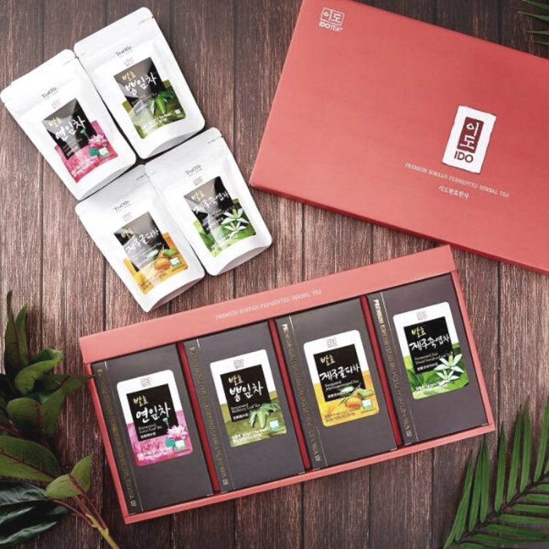 IDO Tea Fermented Herbal Tea Gift Set - Lotus Leaf Tea, Mulberry Leaf Tea, Jeju Tangerine Peel Tea, Jeju Dwarf Bamboo Leaf Tea