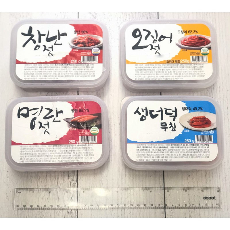 [SEPARATE FREE SHIPPING] Gangwondo Seasoned Salted Seafood (Jeotgal) Large Set (4 Types)