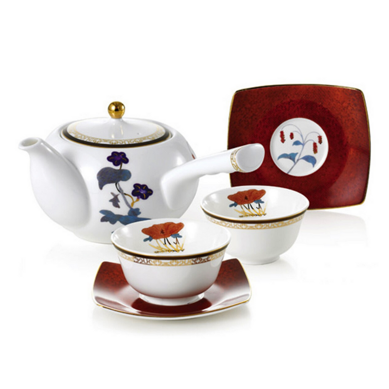 [HANKOOK CHINAWARE] Cho Choong Do 6 Piece Tea Set with Tea Pot