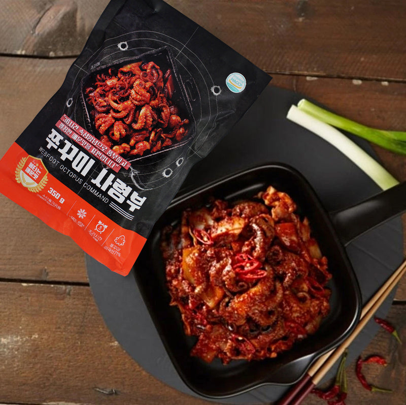 Enjoy the Happy Table EXTRA SPICY Baby Octopus Stir-Fry Mix at Seoul Mills.