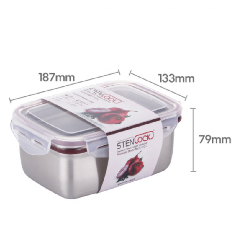 [Stenlock Classic] Stainless Steel Airtight Deep Container #6 (1.0 L)