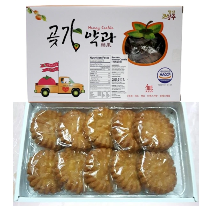 Korean Persimmon Honey Cookie (Yakgwa) KING SIZE 50g (10 Cookies)