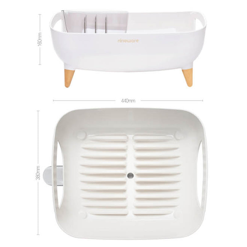 [NINEWARE] Wide Volume Countertop Dish Rack (White Only)