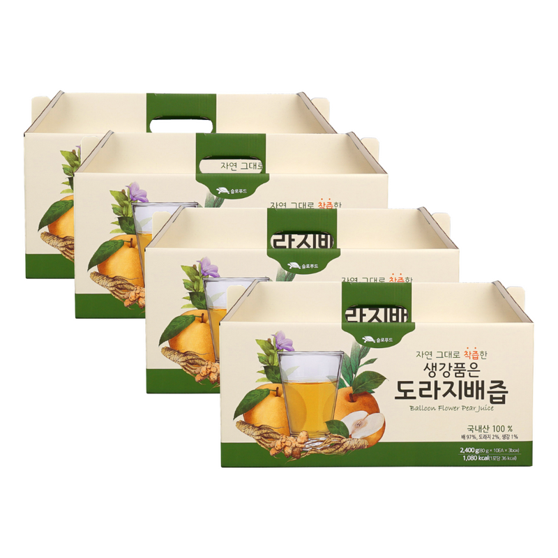 [SEPARATE FREE SHIPPING] Hadong Pear, Ginger, Bellflower Root Juice100ml (30 Packs per Box at 4 Boxes)