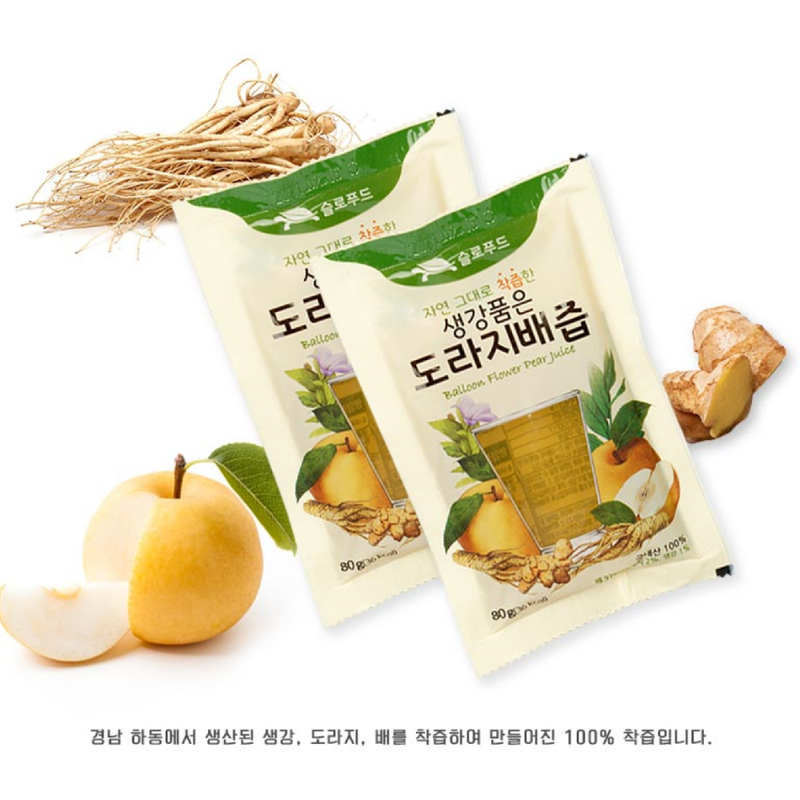 Hadong Pear, Ginger, Bellflower Root Juice 100ml (30 Packs per Box)