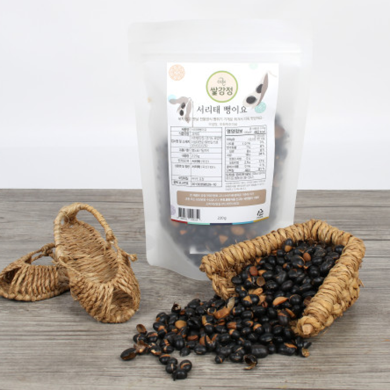 Popped Black Soybean with Green Kernel Snack (Seoritae) 220g