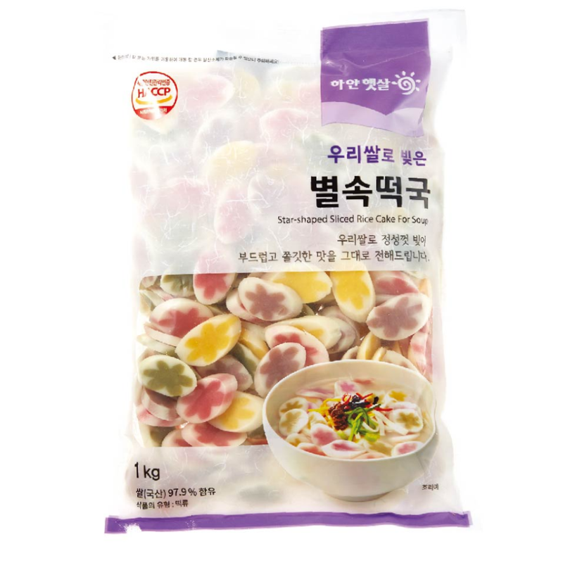 Star-shaped Sliced Rice Cake for Soup 1kg x 3 bags