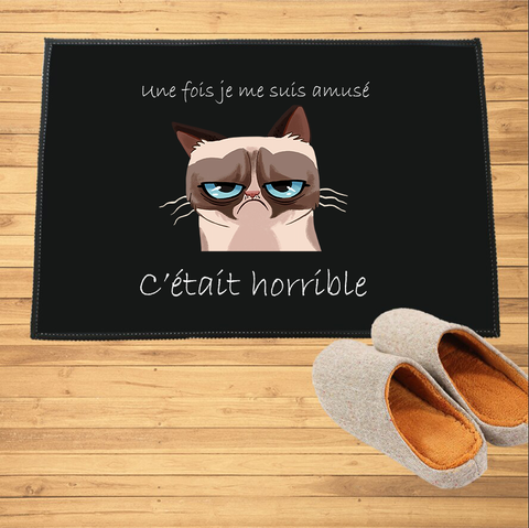 Paillasson chat humoristique - Grumpy Cat cartoon