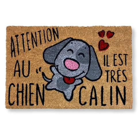Paillasson fun en fibre de coco Chien calin