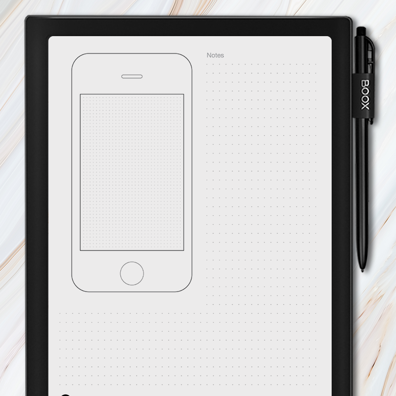 Onyx BOOX - Mobile iPhone Wireframe Template with Grid