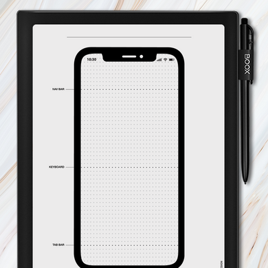 Onyx BOOX - iPhone Wireframe Template