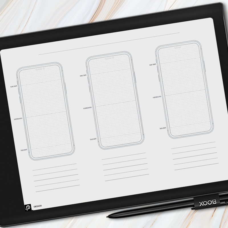 Onyx BOOX - 3 Screen iPhone Wireframe Template