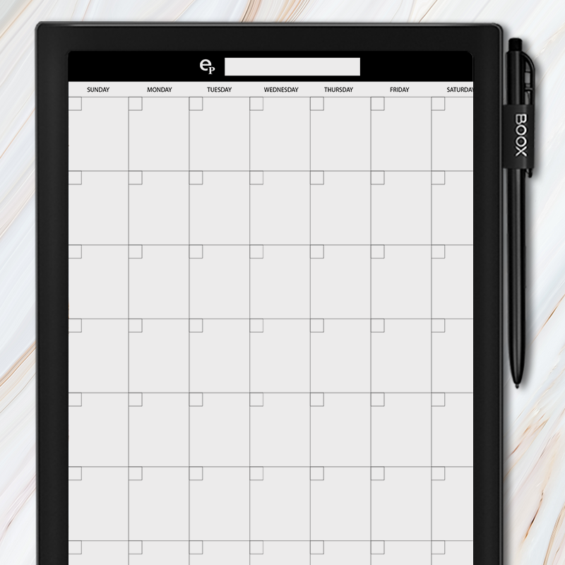Onyx BOOX - Monthly Calendar Template
