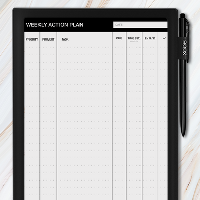 Onyx BOOX weekly action plan template