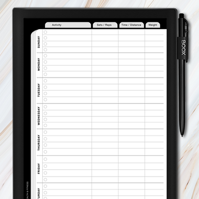 Onyx BOOX - Weekly Workout Log Template