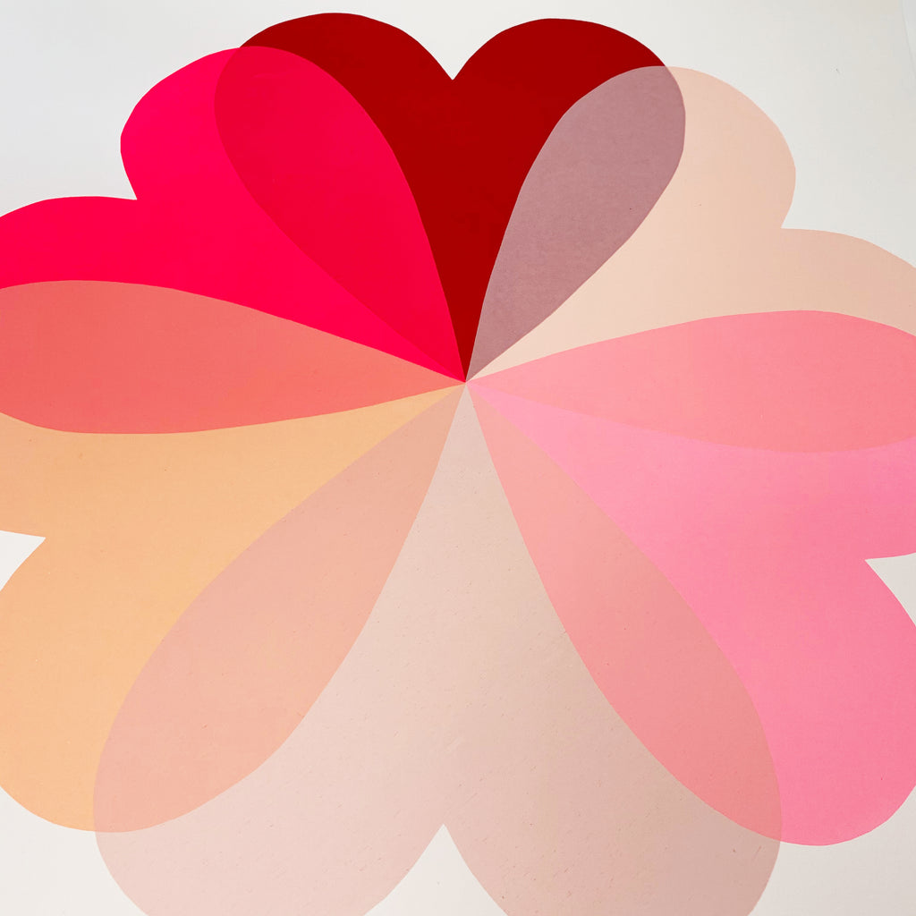 Neon Pink Hearts and Flowers Screen Print by Hannah Carvell