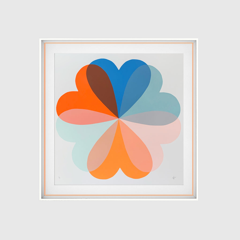 Hearts & Flowers | Large | Orange & Blue