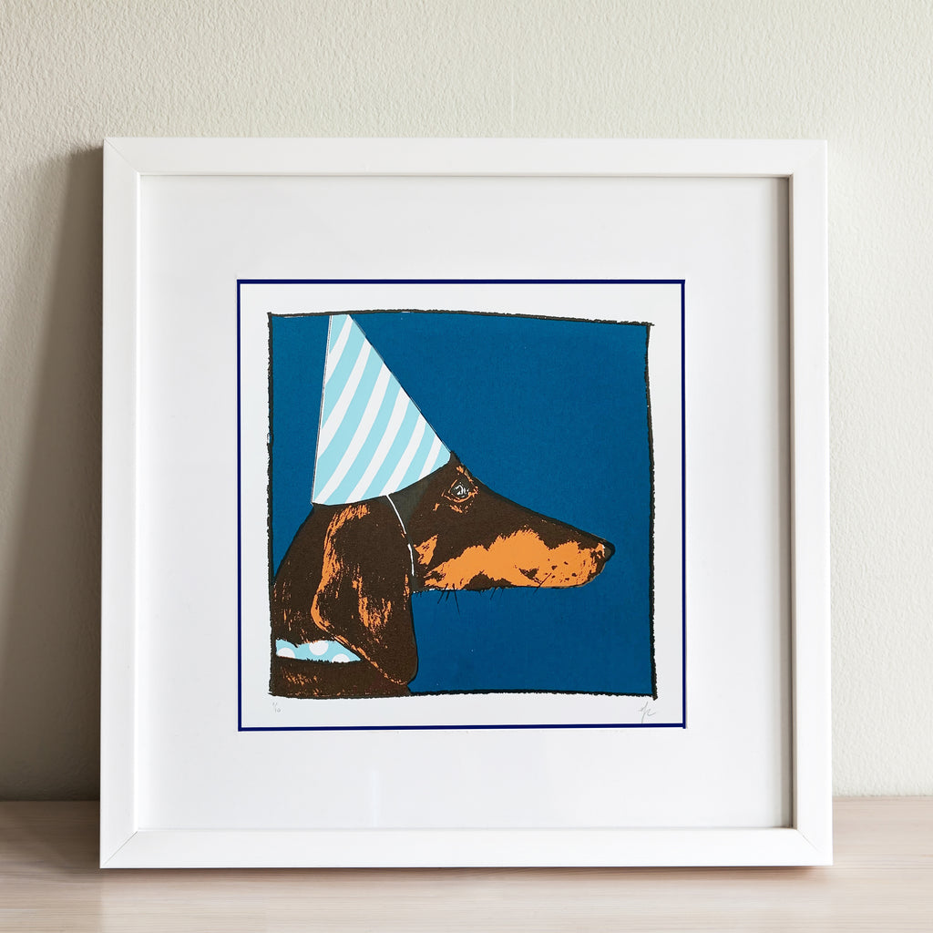 Hannah Carvell, Screen Print, Dachshund, Party Sausage Dog
