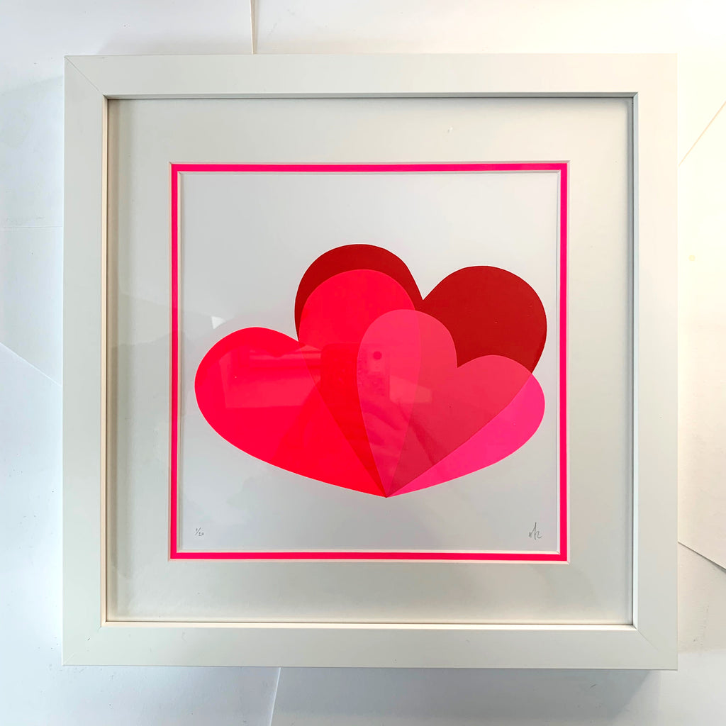 Hannah Carvell, Pink Hearts Screen Print, Neon Spacer Frame
