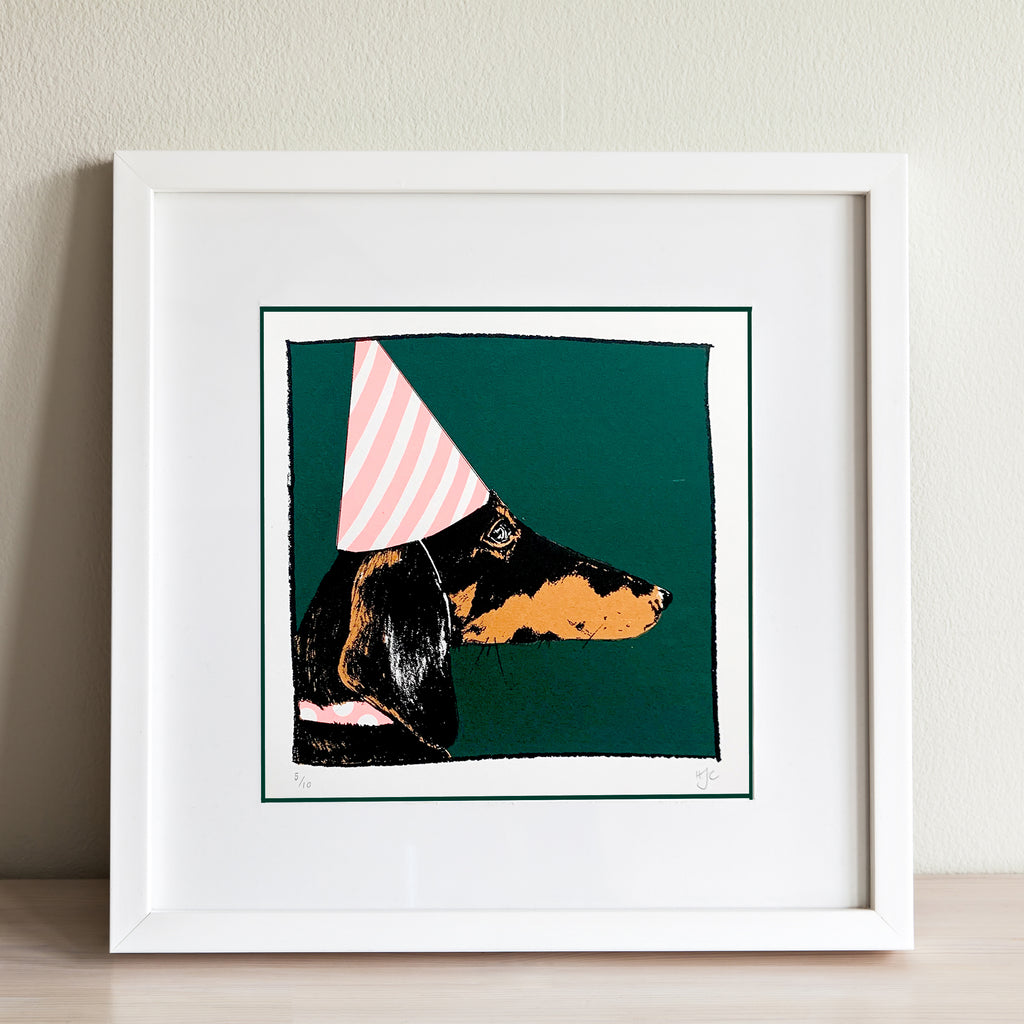 Dachshund in a Party Hat Screen Print | Green