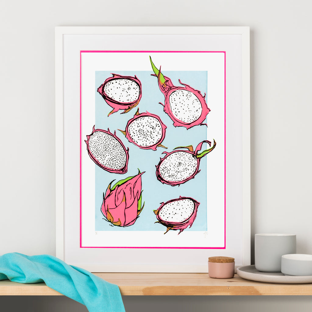 Hannah Carvell, Neon Pink Frame, Double Mount, Screen Print, Dragon Fruits Illustration