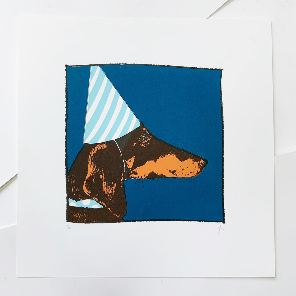 Dachshund in a Party Hat Screen Print | Blue