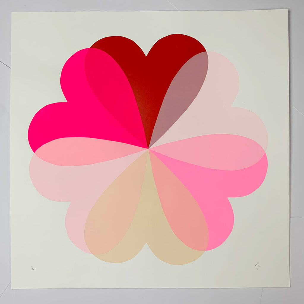 Large Hearts & Flowers | Red + Neon Pink