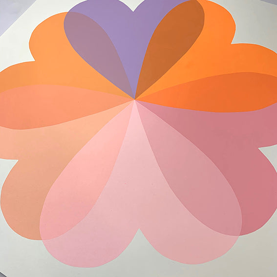Hannah Carvell, Screen Print, Orange Lilac Hearts and Flowers