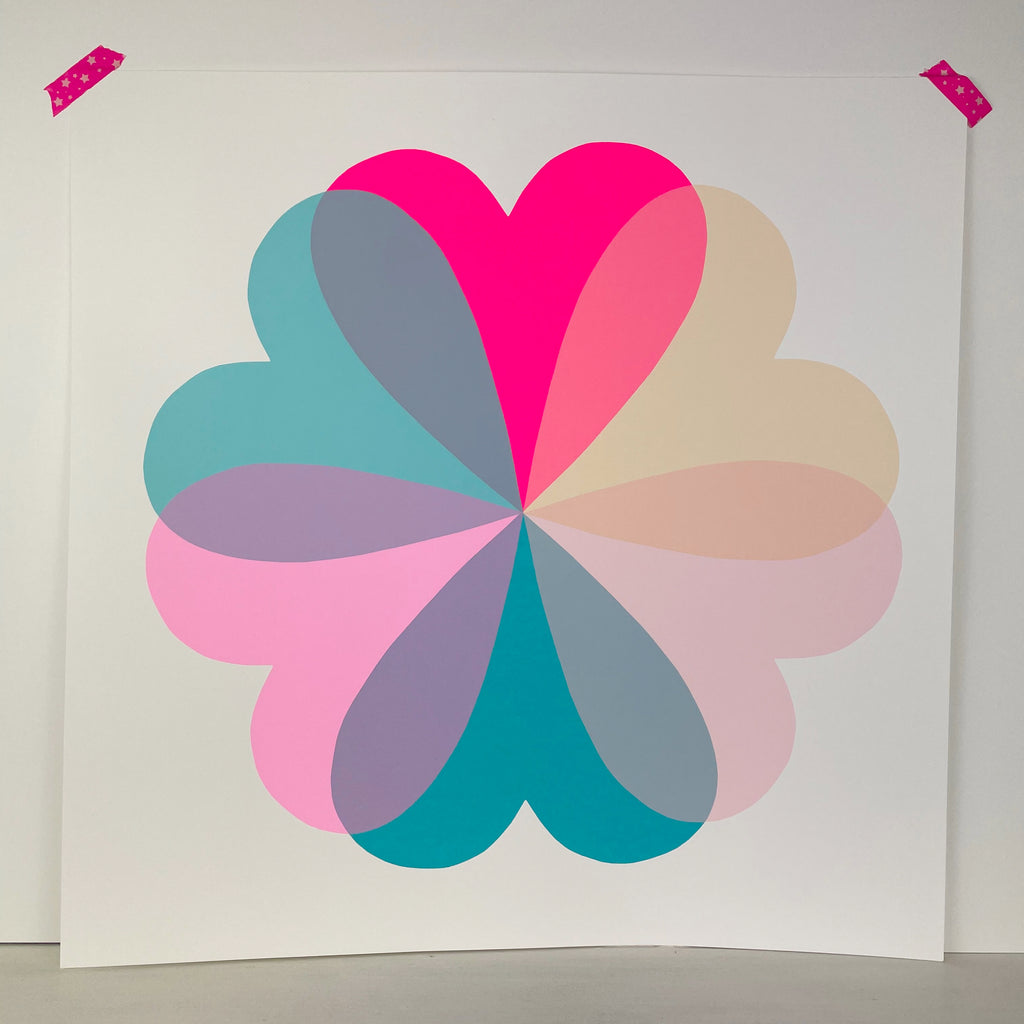 Hearts & Flowers | Large | Teal & Neon Pink