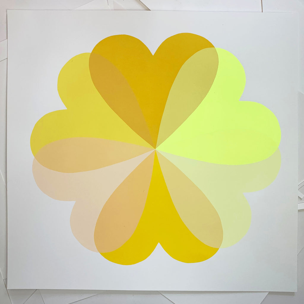 Hannah Carvell, Yellow Sunshine Screen Print, Neon Yellow Spacer Frame, Love Hearts