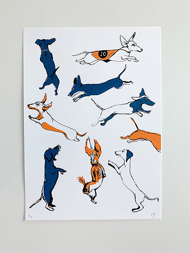 Leaping Dachshunds Screen Print | Blue + Orange