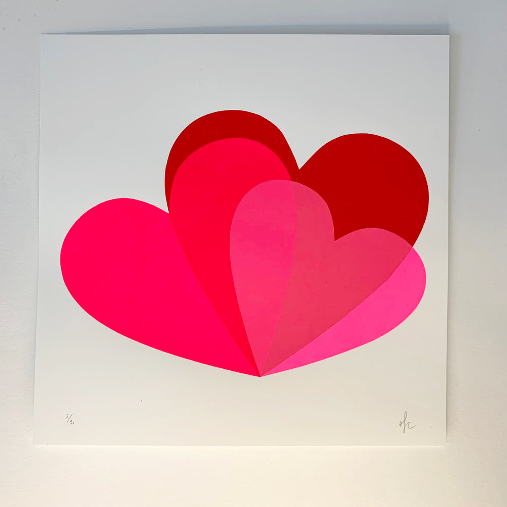 Hannah Carvell, Hearts Screen Print, Neon Pink Hearts