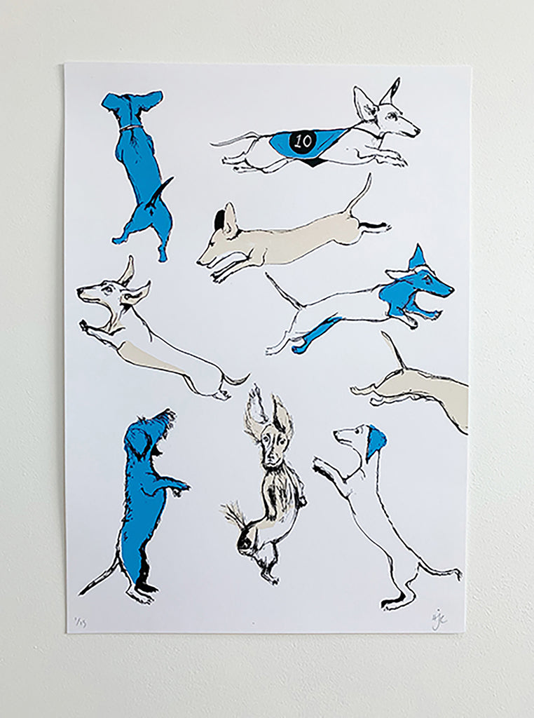 Leaping Dachshunds Screen Print | Blue + Pink