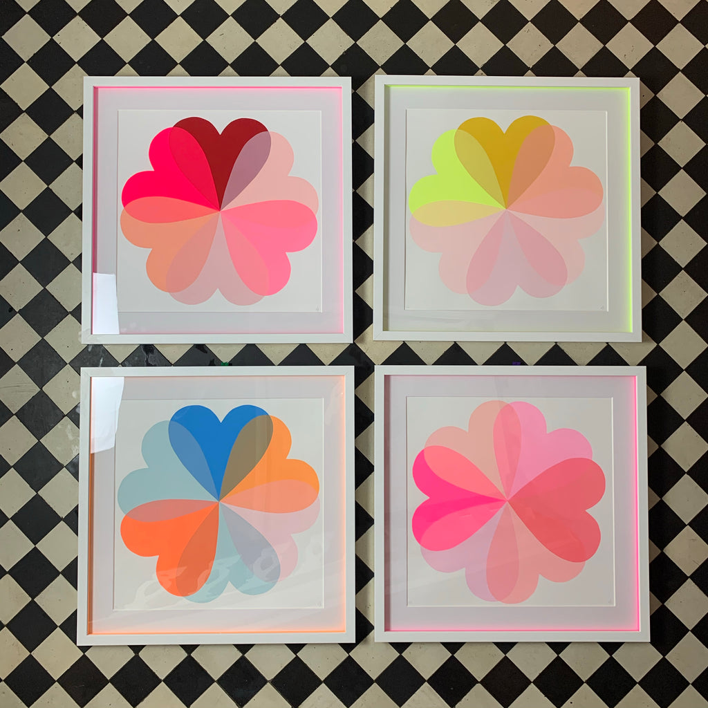 Hearts & Flowers | Large | Neon Yellow & Pink
