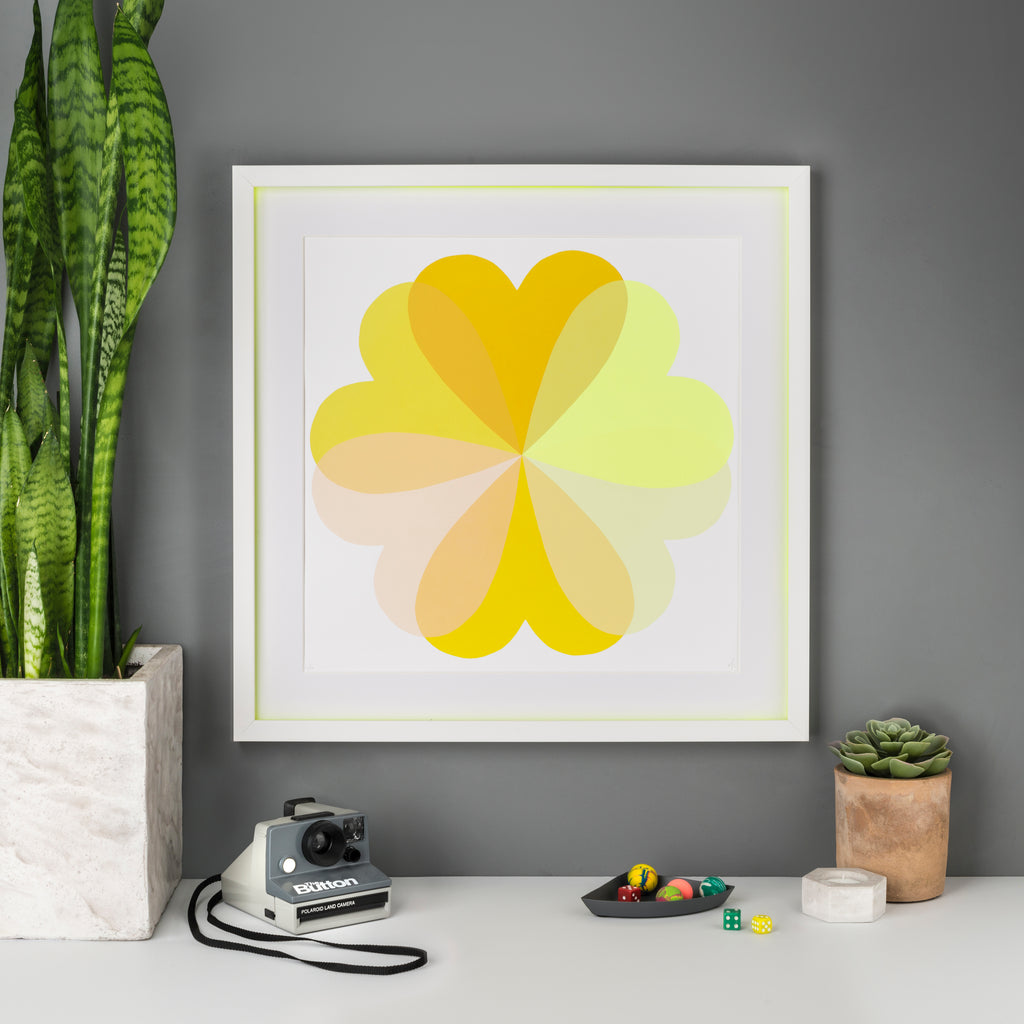 Hannah Carvell, Sunshine, Yellow Hearts and Flowers, Screen Print