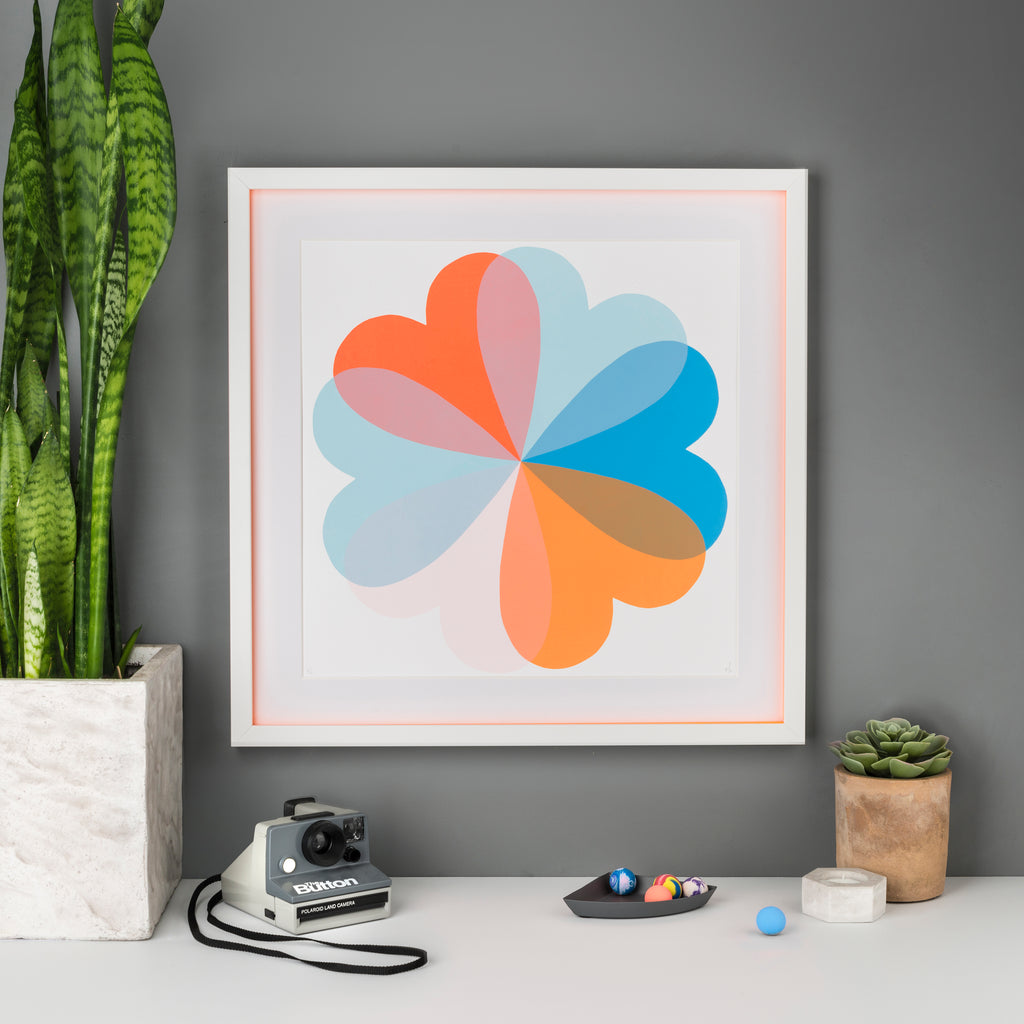 Hannah Carvell Screen Print, Hearts, Blue Orange, Neon Orange Spacer Frame