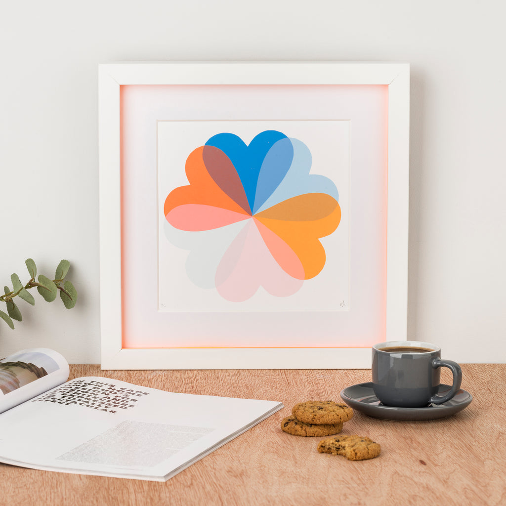 Small HEARTS & FLOWERS | BLUE + ORANGE