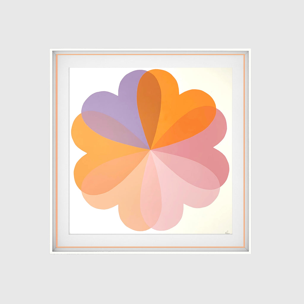 Hannah Carvell, Hearts and Flowers, Screen Print, Neon Spacer Frame