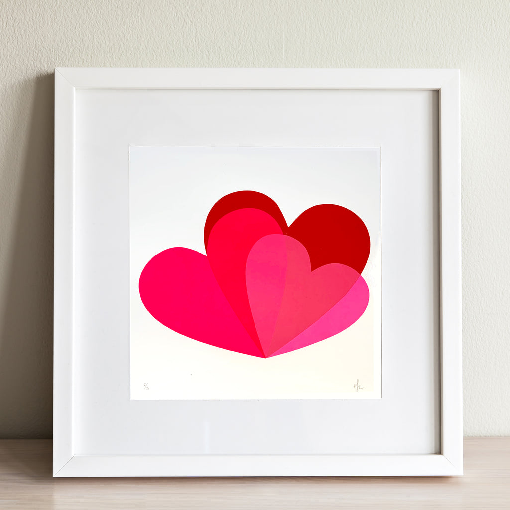 Hannah Carvell, Pink Hearts Screen Print,Neon Spacer Frame
