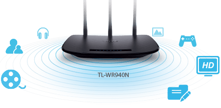 TP-Link TL-WR940N – Point d'accès Wi-Fi N 450 Mbps Router – 2.4 GHz, 5 ports Ethernet