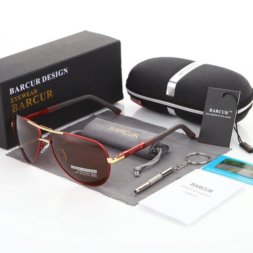 Barcur Sunglasses in Aluminum Magnesium  - Gold Tea