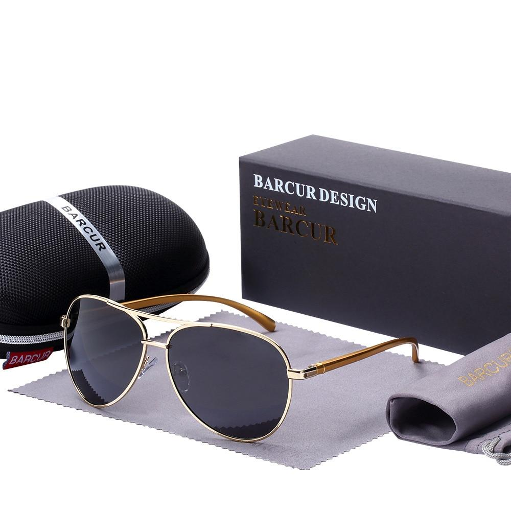 barcur Polarized Sunglasses For Men - Gold Gray
