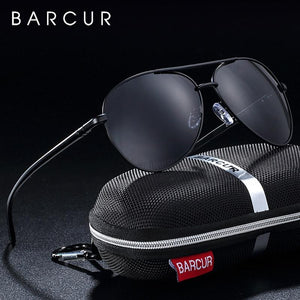 Barcur Polarized Sunglasses For Men - Black Gray