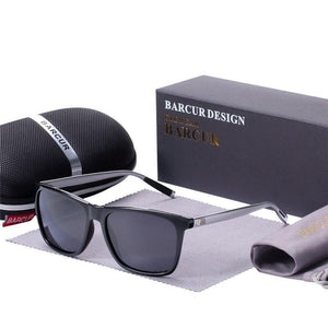 Barcur Polarized Aluminum Sunglasses For Men - Black gray