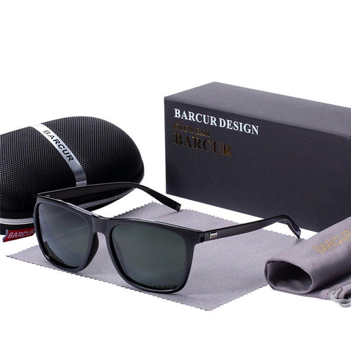 Barcur Polarized Aluminum Sunglasses For Men - Blackish Green