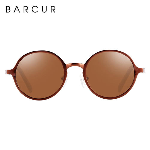 Barcur Black Round Sunglasses - Coffee